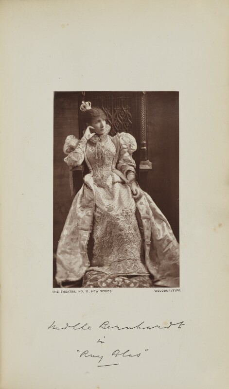Sarah Bernhardt as Doña Maria in 'Ruy Blas', by Melandri, published by  Wyman & Sons, published 1 June 1879 - NPG Ax129598 - © National Portrait Gallery, London