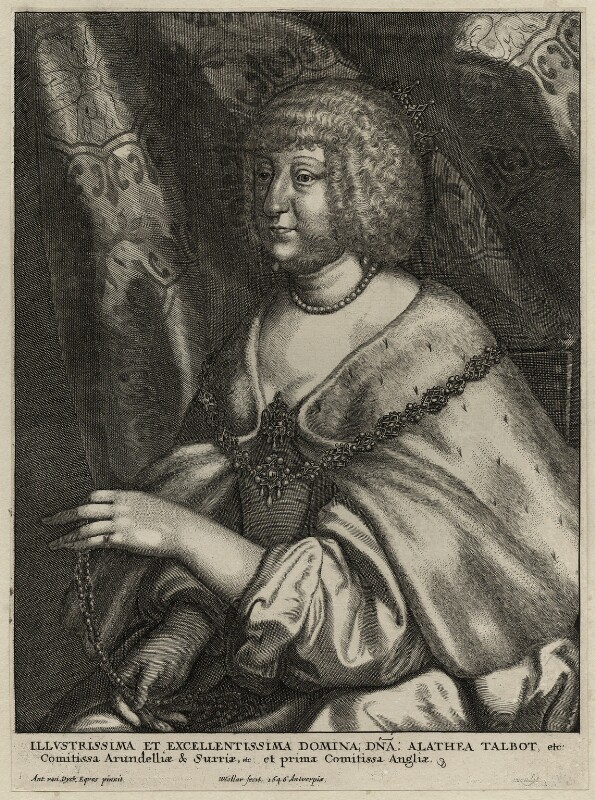 Aletheia Talbot, Countess of Arundel, by Wenceslaus Hollar, after  Sir Anthony van Dyck, published by  Johannes Meyssens, 1646 - NPG D28395 - © National Portrait Gallery, London
