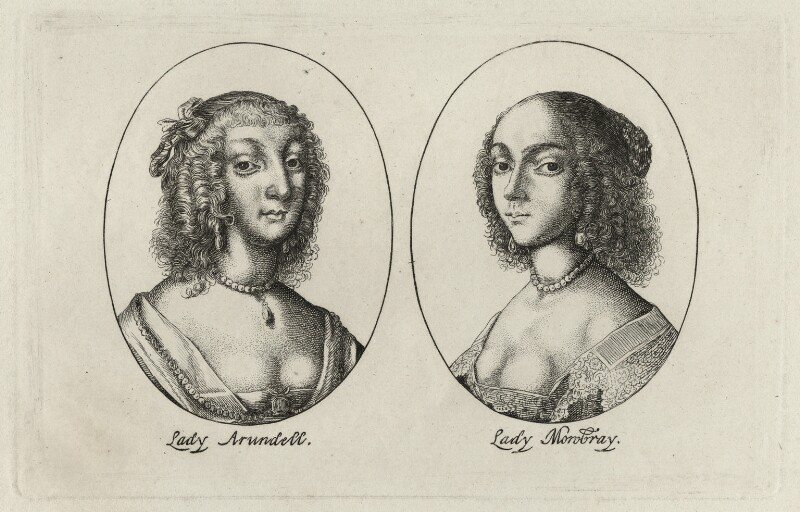Aletheia Talbot, Countess of Arundel and Elizabeth (née Stuart), Countess of Arundel and Surrey, possibly by Wenceslaus Hollar, mid 17th century - NPG D28397 - © National Portrait Gallery, London