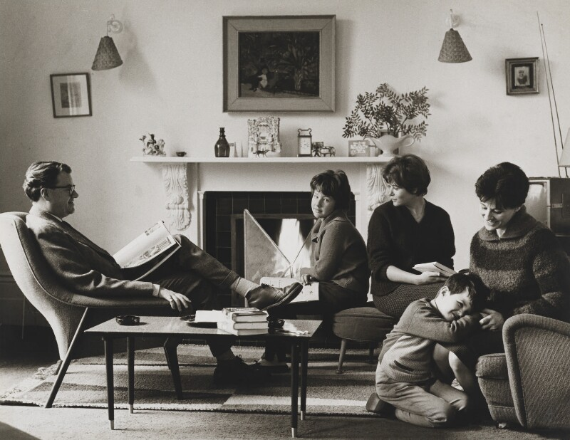 John Mortimer; Penelope Ruth Mortimer (née Fletcher) and their three children Sally, Julia and Jeremy, by Mark Gerson, January 1961 - NPG x88309 - © Mark Gerson / National Portrait Gallery, London