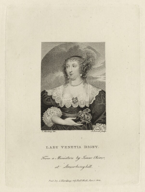 Venetia, Lady Digby, by Andrew Birrell, published by  Silvester Harding, after  Isaac Oliver, published 1802 - NPG D28448 - © National Portrait Gallery, London