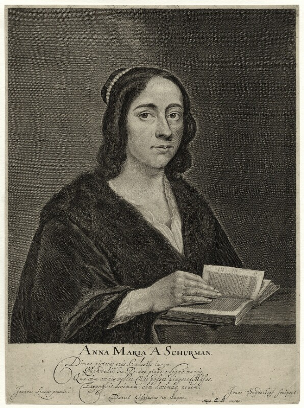 Anna Maria van Schurman, by Jonas Suyderhoef, after  Jan Lievens, mid to late 17th century - NPG D28459 - © National Portrait Gallery, London