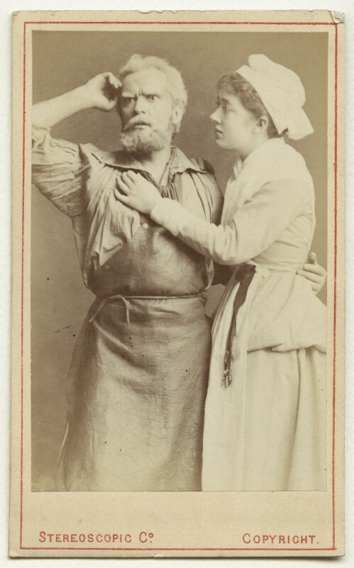 Hermann Vezin as Dan'l Druce; Marion Bessie Terry as Dorothy in 'Dan'l Druce, Blacksmith', by London Stereoscopic & Photographic Company, 1876 - NPG Ax18193 - © National Portrait Gallery, London