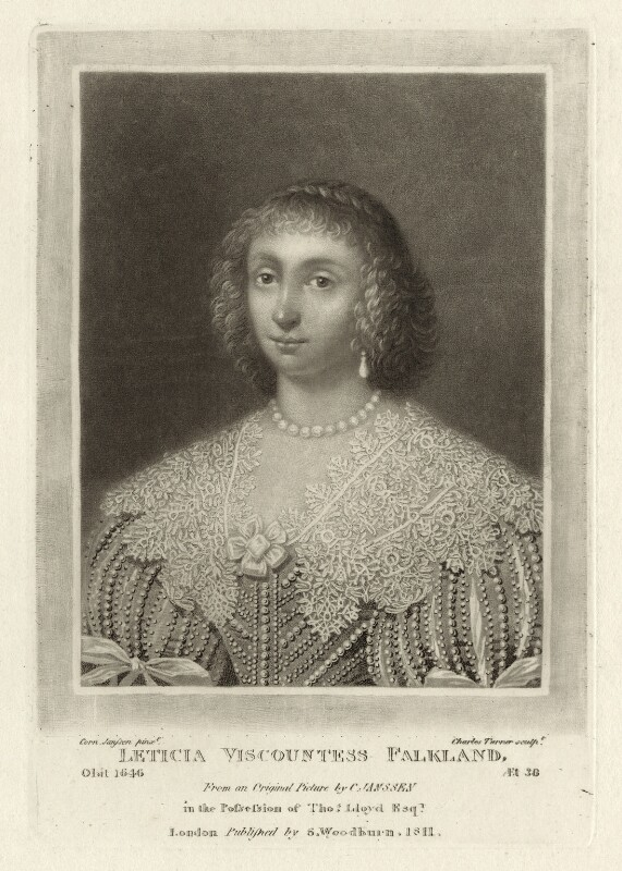 Lettice Cary (née Morison), Viscountess Falkland, by Charles Turner, published by  Samuel Woodburn, after  Cornelius Johnson (Cornelius Janssen van Ceulen), published 1811 - NPG D28479 - © National Portrait Gallery, London