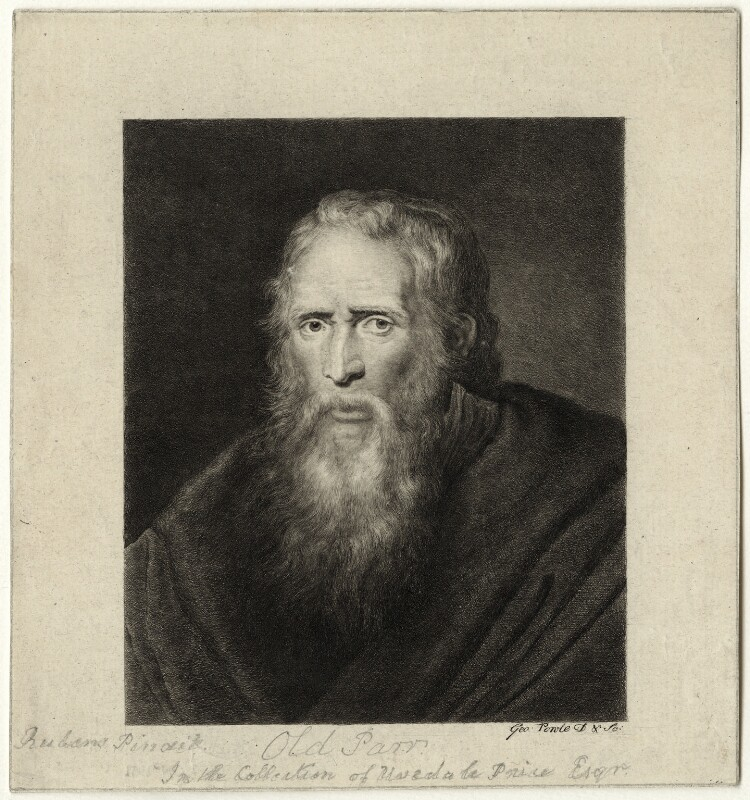 Thomas Parr, by George Powle, after  Sir Peter Paul Rubens, mid to late 18th century - NPG D28498 - © National Portrait Gallery, London