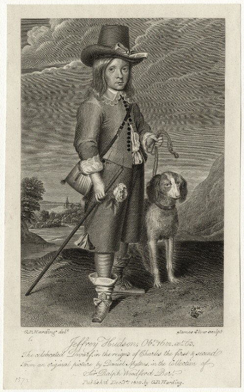 Unknown man engraved as Jeffrey Hudson, by James Stow, after  Daniel Mytens, published by  George Perfect Harding, published 1810 - NPG D28510 - © National Portrait Gallery, London