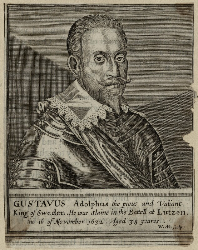 Gustavus Adolphus, King of Sweden, by William Marshall, early to mid 17th century - NPG D28564 - © National Portrait Gallery, London