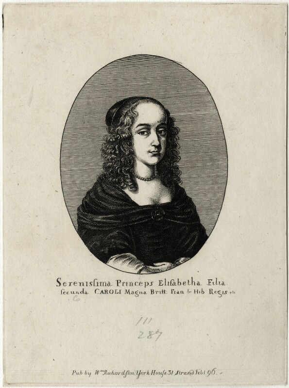 Princess Elizabeth, possibly by Edmund Dorrell, after  Wenceslaus Hollar, published by  William Richardson, published 1796 - NPG D28655 - © National Portrait Gallery, London