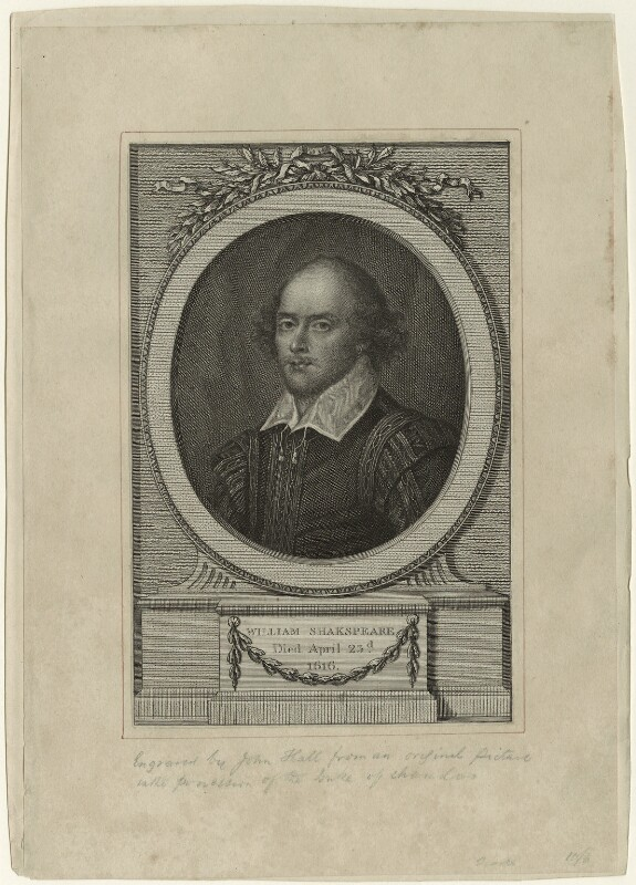 William Shakespeare, by John Hall, probably after  John Taylor, published 1785 - NPG D32488 - © National Portrait Gallery, London