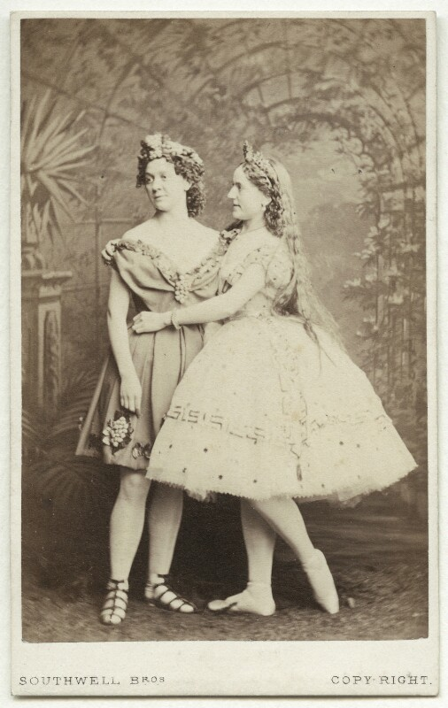 Fanny Wright (Mrs Williams) as Bacchus; Caroline Adams as Ariadne in 'Bacchus and Ariadne', by Southwell Brothers, published by  A. Marion, Son & Co, 1864 - NPG x27550 - © National Portrait Gallery, London