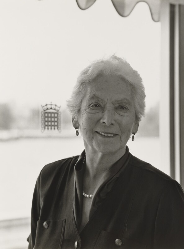 Nora Ratcliff David (née Blakesley), Baroness David, by Julia Hedgecoe, 21 May 1998 - NPG P751(7) - © Julia Hedgecoe / National Portrait Gallery, London