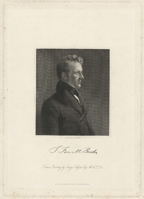 Sir Thomas Fowell Buxton, 1st Bt, by John Brain, after  Sir George Hayter, published 1840 - NPG D32511 - © National Portrait Gallery, London