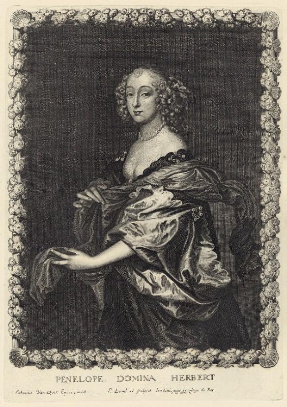 Penelope (née Naunton), Lady Herbert, by Pierre Lombart, after  Sir Anthony van Dyck, mid 17th century - NPG D29175 - © National Portrait Gallery, London