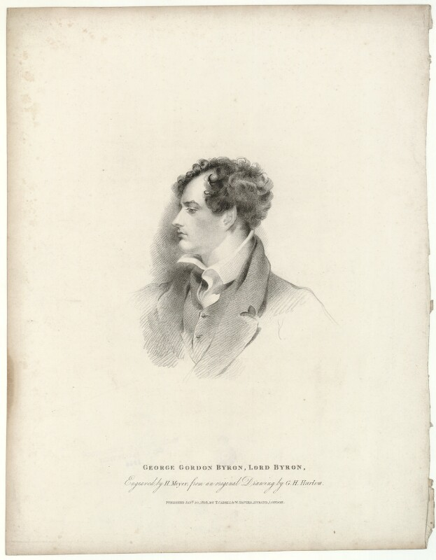 Lord Byron, by Henry Meyer, published by  T. Cadell & W. Davies, after  George Henry Harlow, published 30 January 1816 - NPG D32518 - © National Portrait Gallery, London