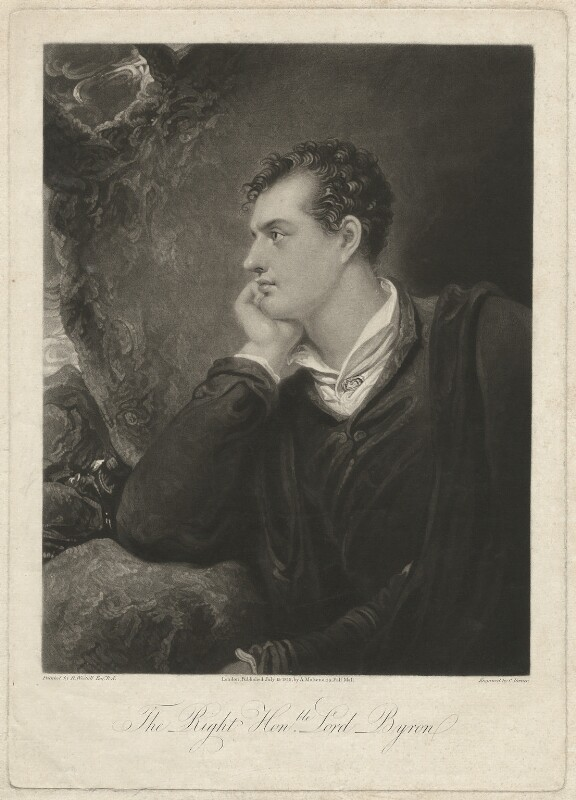 Lord Byron, by Charles Turner, published by  Anthony Molteno, after  Richard Westall, published 15 July 1815 (1813) - NPG D32519 - © National Portrait Gallery, London
