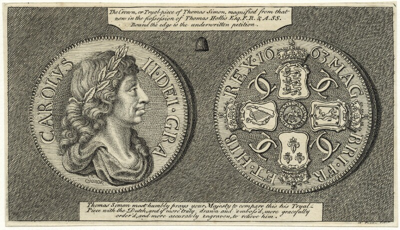 King Charles II (The trial crown piece of Charles II), by Francis Perry, after  Thomas Simon, mid 18th century (1663) - NPG D29265 - © National Portrait Gallery, London