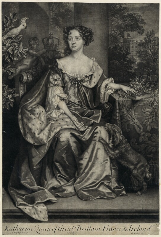 Catherine of Braganza, by John Smith, published by  Edward Cooper, after  Willem Wissing, 1684 - NPG D29293 - © National Portrait Gallery, London