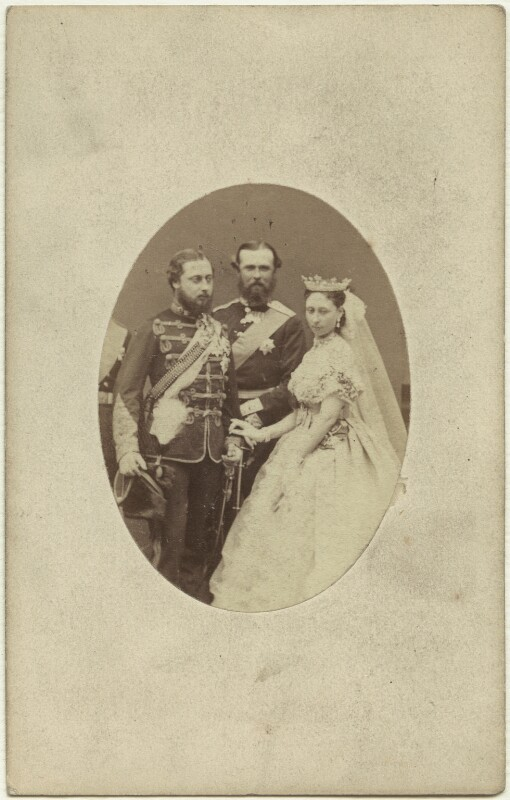 King Edward VII; Louis IV, Grand Duke of Hesse and by Rhine; Princess Alice, Grand Duchess of Hesse, by W. & D. Downey, 1867 - NPG x3609 - © National Portrait Gallery, London