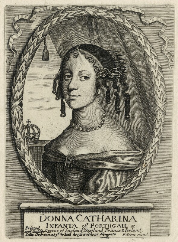 Catherine of Braganza, published by Peter Stent, published by  John Overton, after  Unknown artist, mid to late 17th century - NPG D29301 - © National Portrait Gallery, London