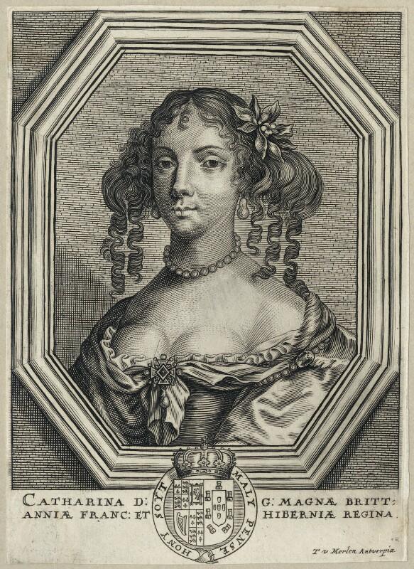Catherine of Braganza, by Theodorus Merlen, after  Unknown artist, mid 17th century - NPG D29306 - © National Portrait Gallery, London