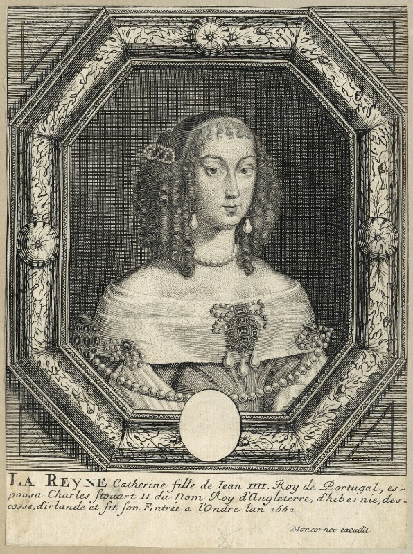 Catherine of Braganza, published by Balthasar Moncornet, after  Unknown artist, mid 17th century - NPG D29307 - © National Portrait Gallery, London