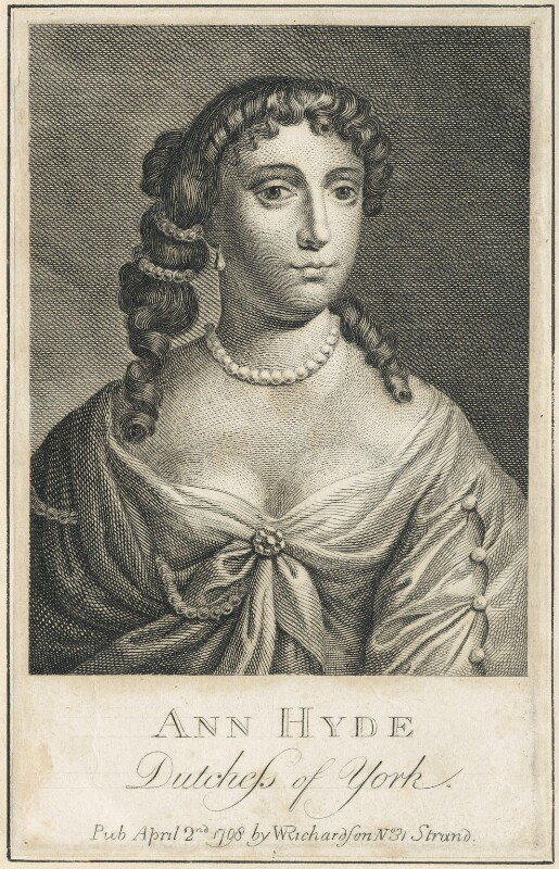 Anne Hyde, Duchess of York, after Sir Peter Lely, published by  William Richardson, published 1798 - NPG D29313 - © National Portrait Gallery, London