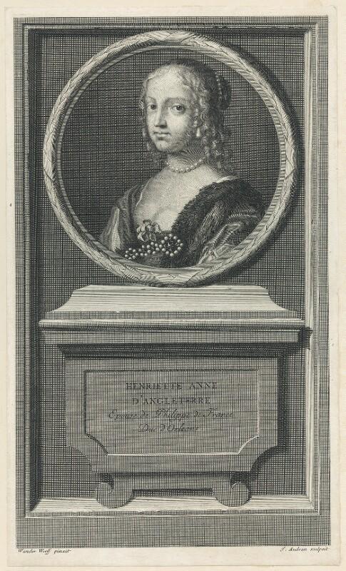 Henrietta Anne, Duchess of Orleans, by Jean Audran, after  Claude Mellan, 1707 - NPG D29333 - © National Portrait Gallery, London