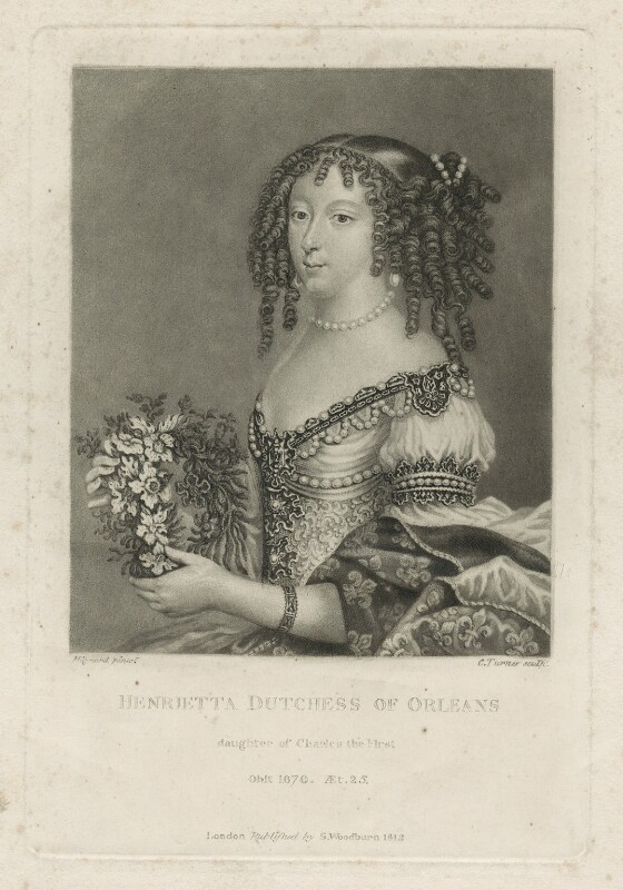 Henrietta Anne, Duchess of Orleans, by Charles Turner, after  Unknown artist, published by  Samuel Woodburn, published 1812 - NPG D29338 - © National Portrait Gallery, London