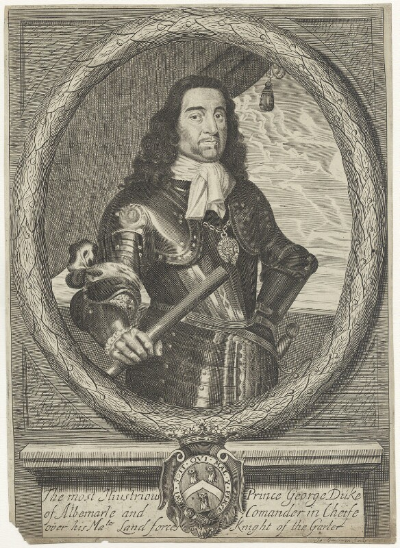 George Monck, 1st Duke of Albemarle, by James Gammon, after  David Loggan, mid to late 17th century - NPG D29375 - © National Portrait Gallery, London