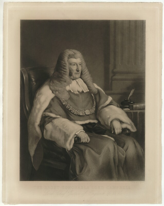 John Campbell, 1st Baron Campbell of St Andrews, by Thomas Lewis Atkinson, after  Sir Francis Grant, published 1852 - NPG D32561 - © National Portrait Gallery, London