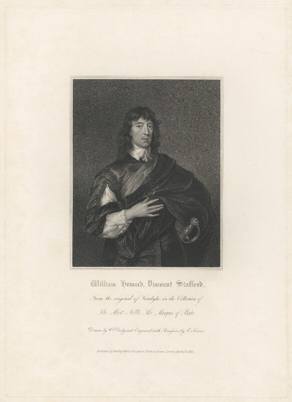 William Howard, 1st Viscount Stafford, by Edward Scriven, published by  Harding, Triphook & Lepard, after  Sir Anthony van Dyck, published 1825 - NPG D29409 - © National Portrait Gallery, London