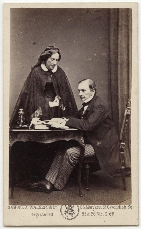 Catherine Gladstone (née Glynne); William Ewart Gladstone, by Samuel Alexander Walker, 1862-1866 - NPG x5975 - © National Portrait Gallery, London