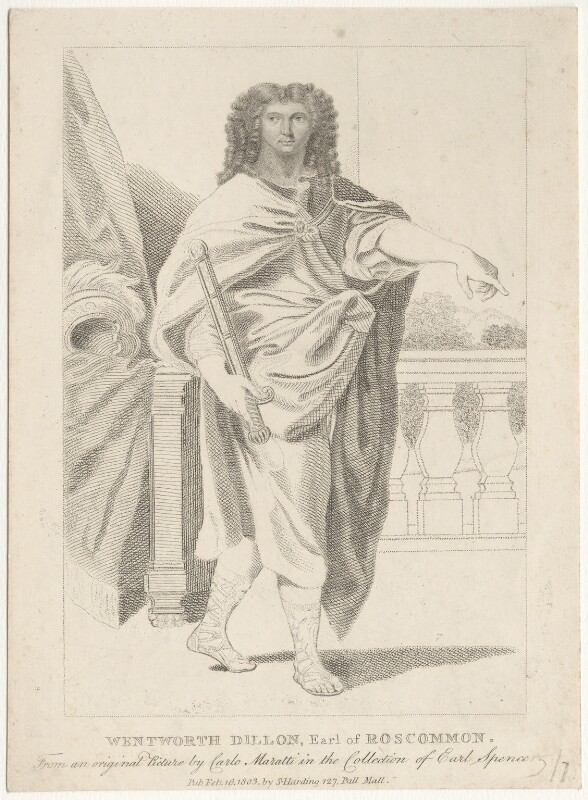 Wentworth Dillon, 4th Earl of Roscommon, published by Silvester (Sylvester) Harding, after  Carlo Maratta, published 1803 - NPG D29460 - © National Portrait Gallery, London