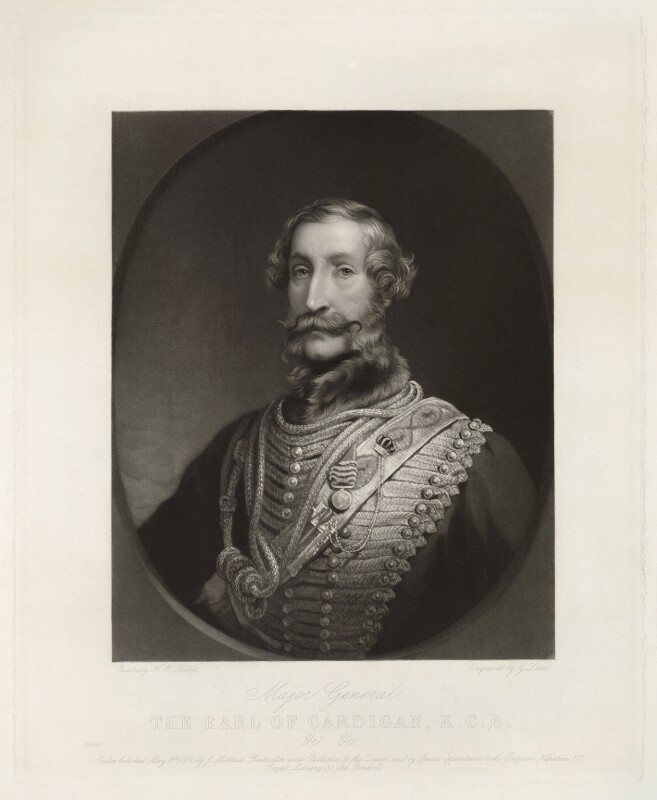 James Thomas Brudenell, 7th Earl of Cardigan, by George Zobel, after  Henry Wyndham Phillips, published 1856 - NPG D32601 - © National Portrait Gallery, London