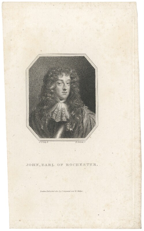 John Wilmot, 2nd Earl of Rochester, by Edward Scriven, published by  James Carpenter, published by  William Richard Beckford Miller, after  Sir Peter Lely, published 1810 - NPG D29489 - © National Portrait Gallery, London