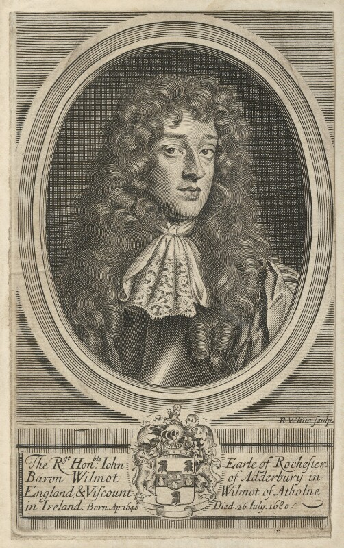John Wilmot, 2nd Earl of Rochester, by Robert White, after  Sir Peter Lely, circa 1680-1703 - NPG D29490 - © National Portrait Gallery, London