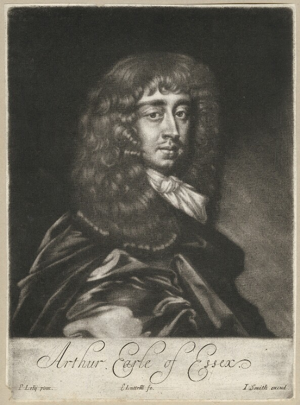 Arthur Capel, 1st Earl of Essex, by Edward Lutterell (Luttrell), published by  John Smith, after  Sir Peter Lely, circa 1682 - NPG D29501 - © National Portrait Gallery, London