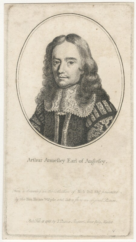 Arthur Annesley, 1st Earl of Anglesey, after Unknown artist, published by  John Thane, published 1783 - NPG D29504 - © National Portrait Gallery, London