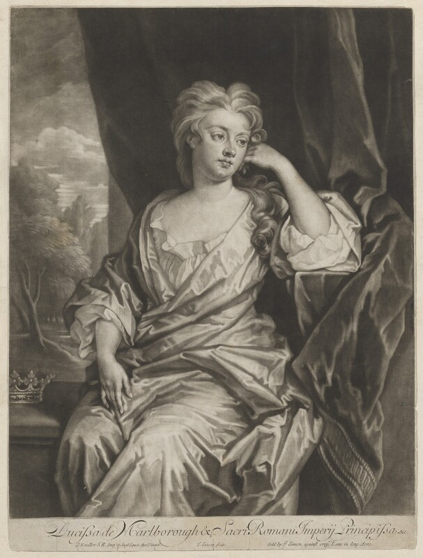 Sarah Churchill (née Jenyns (Jennings)), Duchess of Marlborough, by and published by John Simon, after  Sir Godfrey Kneller, Bt, circa 1700-1725 - NPG D32565 - © National Portrait Gallery, London