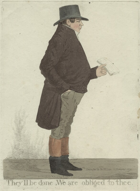 Samuel Gurney ('They'll be done, we are obliged to thee'), by Richard Dighton, published by  Thomas McLean, published 1824 - NPG D32608 - © National Portrait Gallery, London