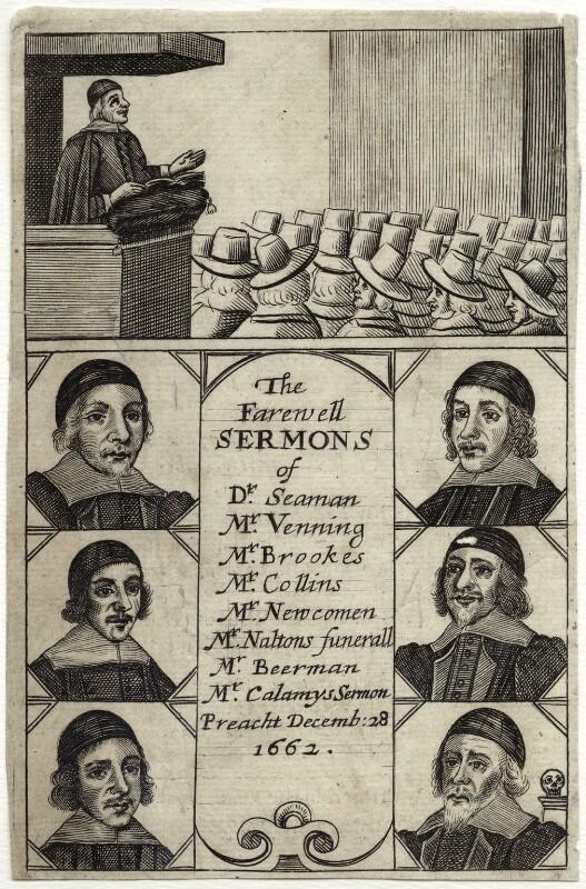 The Farewell Sermons of...(John Collins; Ralph Venning; Edmund Calamy; Lazurus Seaman; Matthew Newcomen; Beerman), after Unknown artist, circa 1662 - NPG D29683 - © National Portrait Gallery, London