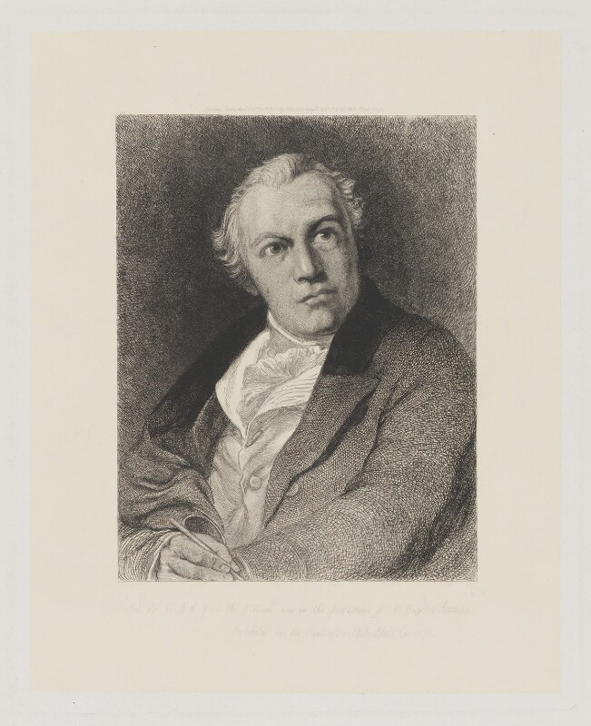 William Blake, by William Bell Scott, after  Thomas Phillips, 1881 (1807) - NPG D32671 - © National Portrait Gallery, London