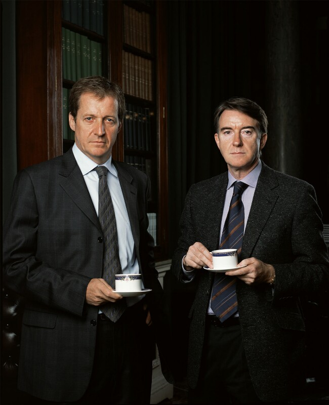 Alastair John Campbell; Peter Benjamin Mandelson, Baron Mandelson, by Richard Ansett, February 2005 - NPG x131415 - © Richard Ansett