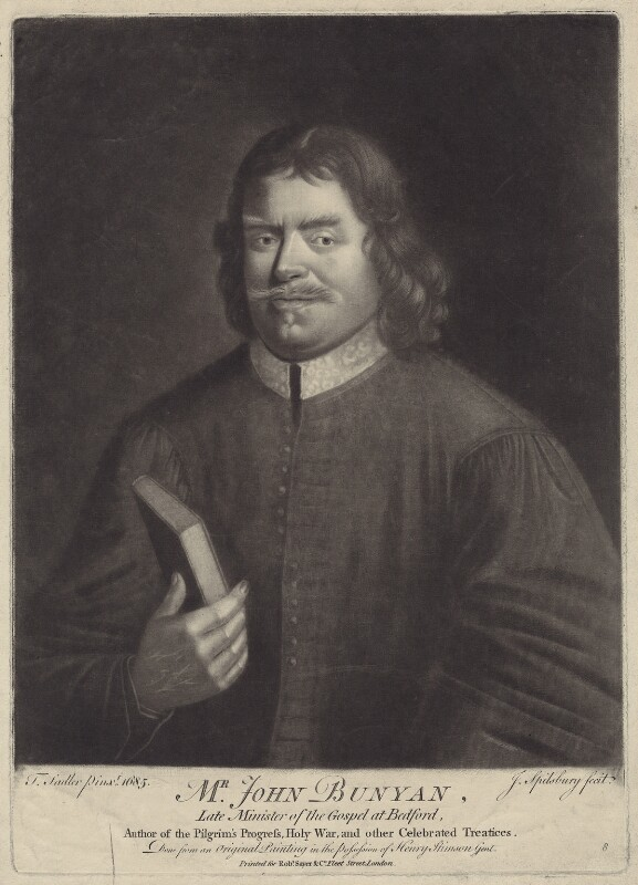 John Bunyan, by Jonathan Spilsbury, after  Thomas Sadler, published by  Robert Sayer, (1685) - NPG D29796 - © National Portrait Gallery, London