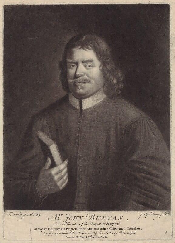 John Bunyan, by Jonathan Spilsbury, after  Thomas Sadler, published by  Robert Sayer, (1685) - NPG D29796 - © National Portrait Gallery, London