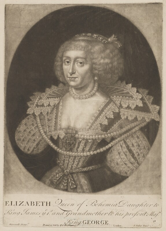 Princess Elizabeth, Queen of Bohemia and Electress Palatine, by John Faber Sr, published by  George Bickham the Younger, after  Michiel Jansz. van Miereveldt, circa 1700-1721 - NPG D32639 - © National Portrait Gallery, London