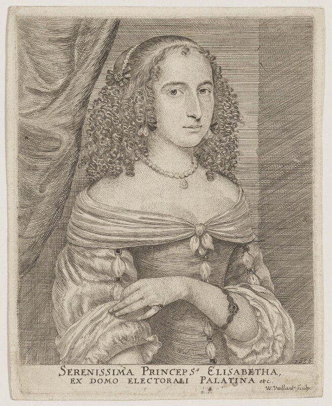 Elizabeth, Princess of the Palatinate, by Wallerant Vaillant, after  Unknown artist, 1656 - NPG D32641 - © National Portrait Gallery, London