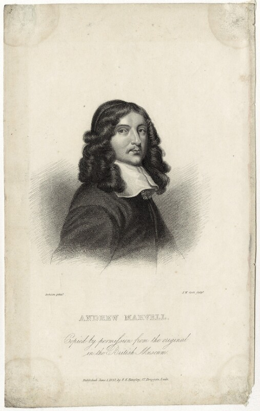 Andrew Marvell, by John William Cook, published by  E.F. Bingley, after  William Dobson, published 1 June 1832 - NPG D29828 - © National Portrait Gallery, London