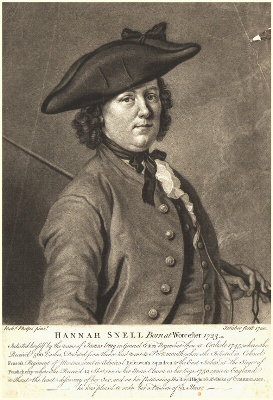 Hannah Snell, by John Faber Jr, after  Richard Phelps, 1750 - NPG D9172 - © National Portrait Gallery, London