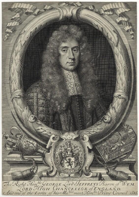 George Jeffreys, 1st Baron Jeffreys of Wem, by Robert White, after  Sir Godfrey Kneller, Bt, circa 1684 - NPG D29878 - © National Portrait Gallery, London
